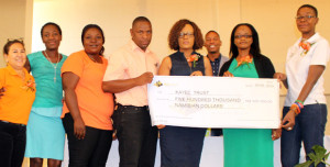 B2Gold Namibia presents sponsorship cheque to KAYEC, 26 September 2015. From left to right: Liza Nagar-Escultura, KAYEC Youth Development Programme Manager; Paulina Hangula, former KAYEC participant; Isabel Somp-Yav of Society for Family Health; Merwin Musambani, KAYEC Finance Manager; Sonia Iyambo, Personal Assistant to Otjozondjupa Governor, Hon. Otto Ipinge; (in back) KAYEC Cluster Co-ordinator Anton Kamerika; Mayor of Otjiwarongo, Hon. Hilde Jesaya; Theo Machoko, B2Gold Employee Wellness & Relations Officer. Photo: Ricardo Smith.
