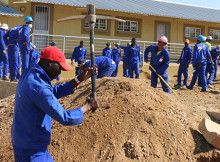 KAYEC trainees preparing the ground for new construction at Faith Primary School in Katutura, 4 February.