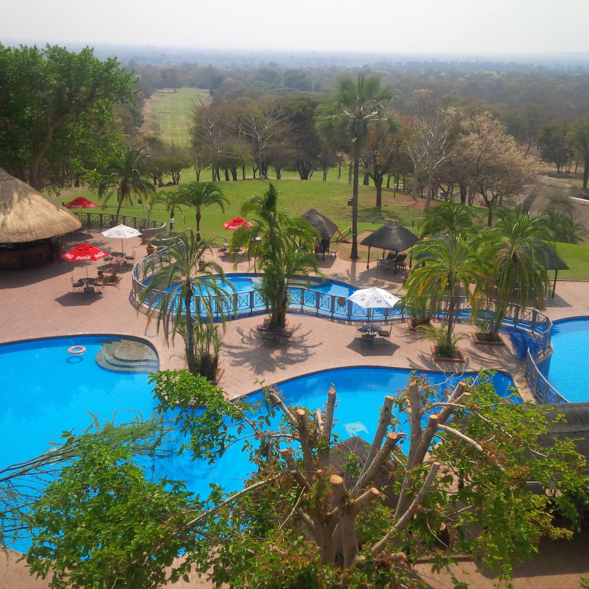 The hotel view in Vic Falls, Zimbabwe.