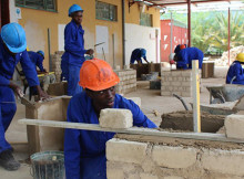 KAYEC bricklaying trainees powering up their career at our Wanaheda centre. Photo: Namibian Sun