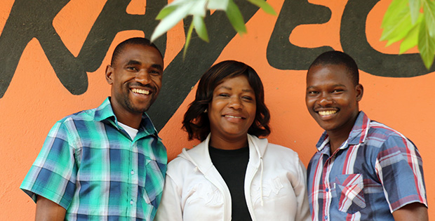 The Mandela Washington Fellows volunteering at KAYEC, after returning home from their exchange in the U.S.: Chancy Gondwe (Malawi), Jacqueline Daka (Zambia), Manuel Francisco (Mozambique).