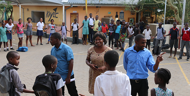 The Fellows greet our Windhoek kids on 24 February 2016, during the circle time that ends each afternoon.