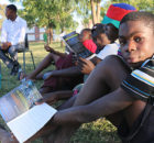 """Zaimy Nakale, a 16-year-old participant at KAYEC's FNB-sponsored centre in Rundu, joins an after-school life skills session about online safety, 5 August 2016. He credits KAYEC for helping him pass his Grade 10 exams: """"KAYEC contributed to my studies, pressuring me to study more, and stick to my passion … When I got my result, I was very happy, running around, jumping up and down, screaming all over the community."""" What's the most important he can share with others, as a youth leader? """"Always talk to them about education, because without education they will mess up their life and they won't get even a proper job. Encourage them even more to come at KAYEC, instead of going in the streets, smoking or doing bad things."""""""