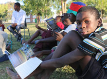 "Zaimy Nakale, a 16-year-old participant at KAYEC's FNB-sponsored centre in Rundu, joins an after-school life skills session about online safety, 5 August 2016. He credits KAYEC for helping him pass his Grade 10 exams: ""KAYEC contributed to my studies, pressuring me to study more, and stick to my passion … When I got my result, I was very happy, running around, jumping up and down, screaming all over the community."" What's the most important he can share with others, as a youth leader? ""Always talk to them about education, because without education they will mess up their life and they won't get even a proper job. Encourage them even more to come at KAYEC, instead of going in the streets, smoking or doing bad things."""
