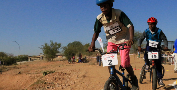 The 12-and-under boys hit the track at the BMX Challenge #4, KAYEC Windhoek, 1 July 2017.